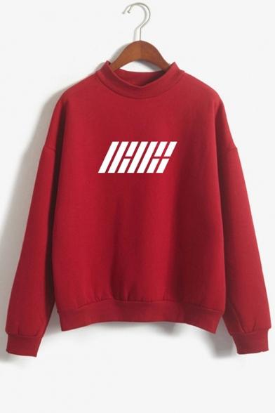Cool Simple Kpop Logo Print Mock Neck Long Sleeve Pullover Sweatshirt, Black;blue;dark navy;pink;red;gray;khaki, LC555519