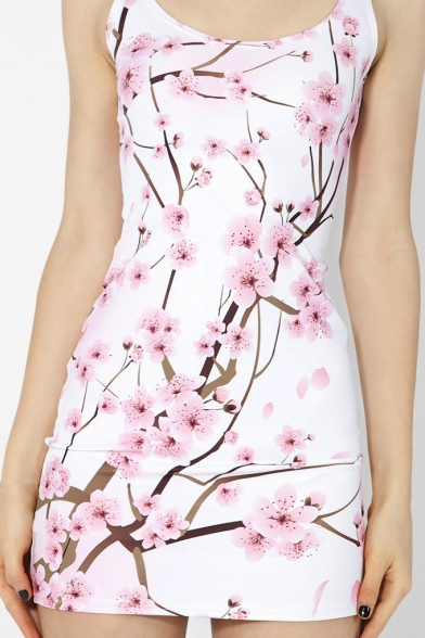 Fancy White Floral Printed Scoop Neck Sleeveless Mini Bodycon Tank Dress