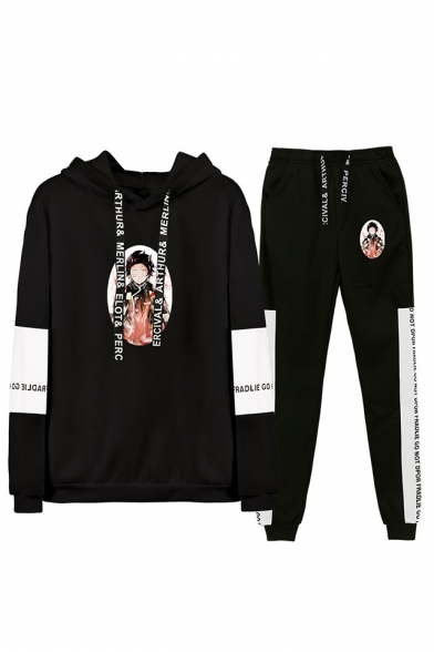 Fashion Comic Figure Print Long Sleeve Hoodie with Drawstring Sweatpants Co-ords