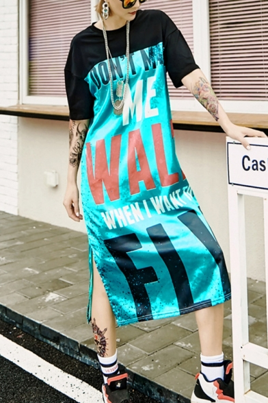 Fashion Street Style Round Neck Short Sleeve Letter Print Slit Loose Shift T-Shirt Maxi Dress
