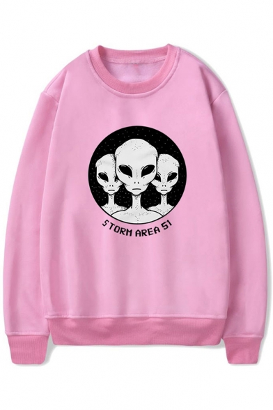 Funny Alien Letter Storm Area Printed Long Sleeve Round Neck Pullover Leisure Sweatshirt