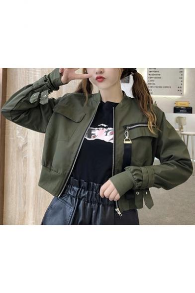 Girls Cool Strap Zipper Pocket Stand Collar Long Sleeve Zip Up Crop Bomber Jacket