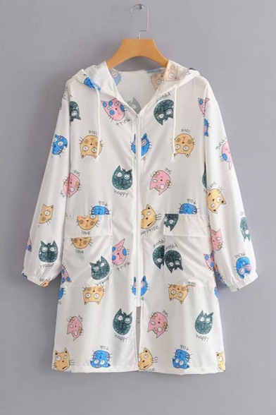 Girls Summer White Cartoon Allover Cat and Planet Printed Sunscreen Hooded Zip Up Longline Coat