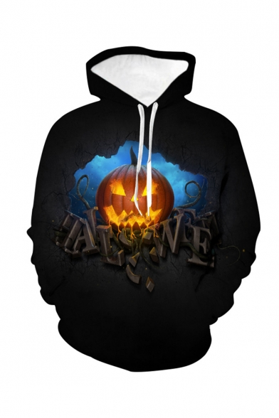 Halloween Letter Pumpkin 3D Printed Long Sleeve Loose Fit Black Drawstring Hoodie
