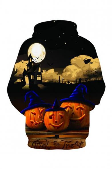 Halloween New Fashion Letter TRICK OR TREAT Pumpkin 3D Printed Long Sleeve Drawstring Hooded Black Loose Hoodie