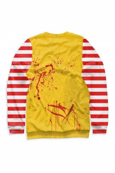 Halloween Popular Fashion Colorblock Stripe Pattern Clown Cosplay Costume Long Sleeve Round Neck Yellow Sweatshirts