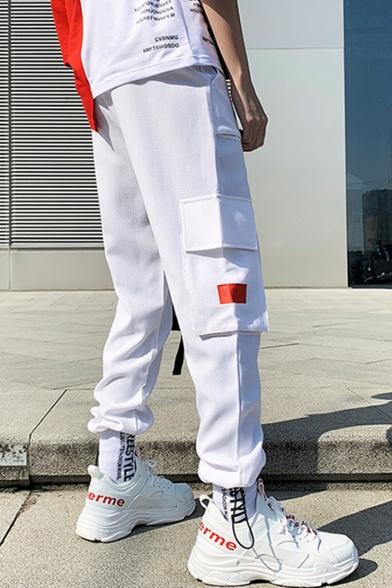 Handsome Colorblock Flap Pocket Design Ribbon Embellished Trendy Casual Sports Cargo Pants for Men