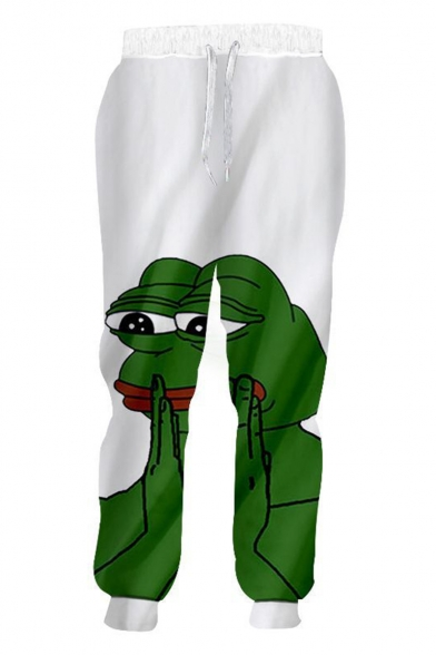Hot Fashion Cartoon Sad Pepe the Frog 3D Printed Drawstring Waist White Casual Loose Sweatpants
