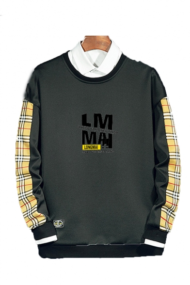 Hot Fashion Letter Plaid Printed Round Neck Long Sleeve Casual Sports Sweatshirts