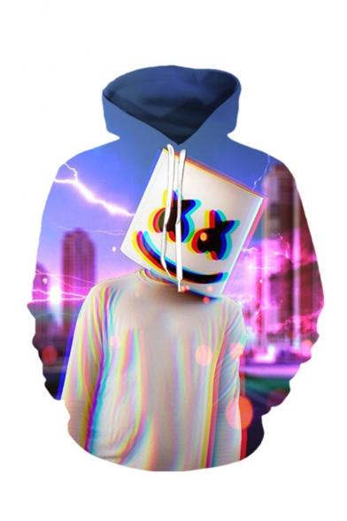 Hot Popular DJ Smile Face 3D Printed Drawstring Hooded Long Sleeve Purple Loose Hoodie