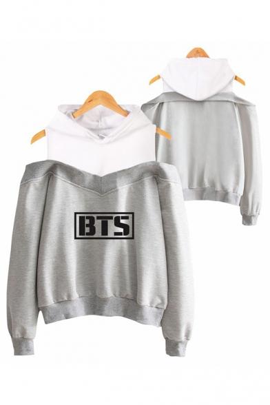 Hot Popular Kpop Logo Printed Cold Shoulder Long Sleeve Loose Fit Hoodie, Black;dark navy;pink;gray, LC555557