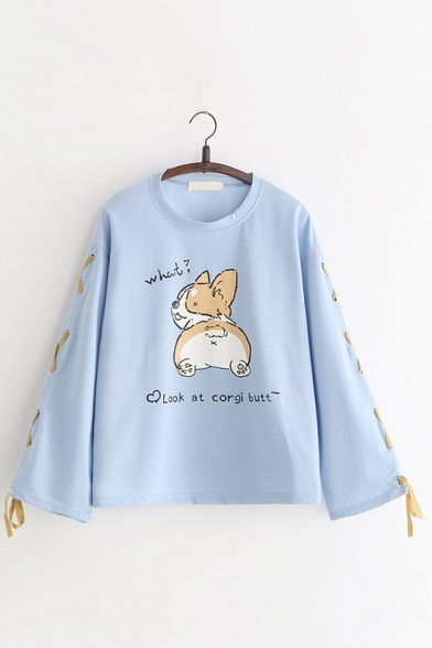 Look AT Corgi Butt Letter Cartoon Dog Printed Round Neck Lace Up Bow Tie Long Sleeve Loose Pullover Sweatshirt