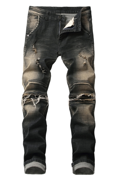 Esperto altezza Conosci  Men's Trendy Vintage Denim Washed Black Regular Fit Frayed Ripped Jeans -  Beautifulhalo.com