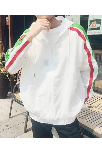 Mens Popular Striped Patch Printed Long Sleeve Zip Up Hooded Sun Protection Jacket Coat
