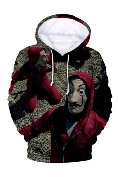 Money Heist Comic Figure 3D Printed Drawstring Hooded Long Sleeve Loose Hoodie