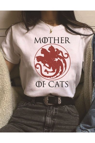 MOTHER OF CATS Letter Cat Printed Short Sleeve Round Neck Casual Loose Cotton T Shirt