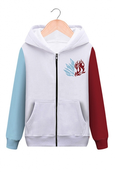 Colorblock Logo Printed Long Sleeve White Casual Zip Up Hoodie with Pocket