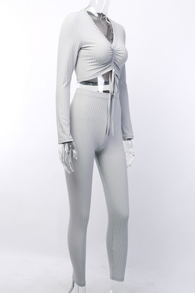 New Arrival Long Sleeve Knotted Front Cropped Tee with Elastic Waist Pants Plain Slim Fit Co-ords