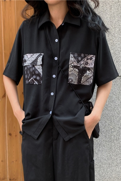 New Arrival Vintage Short Sleeve Lapel Collar Floral Printed Button Down Black Shirt