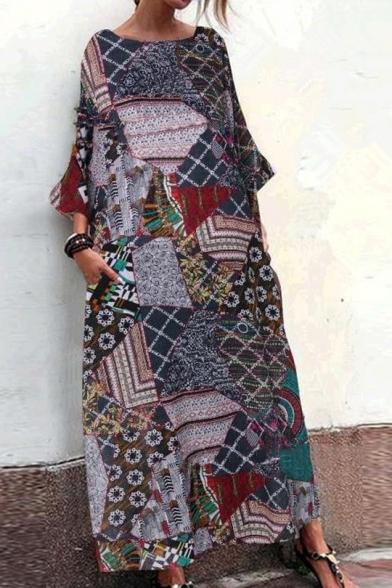 New Fashion Round Neck 3/4 Length Sleeve Pockets Loose National Style Maxi Shift Dress