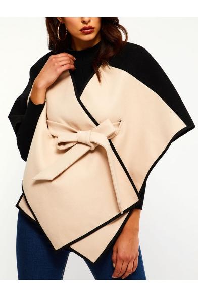 New Fashion V-Neck Colorblocked Tied Belt Wool-Blend Asymmetric Cloak Cape for Women