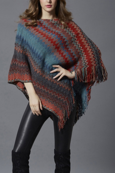 New Stylish Colorblock Batwing Sleeve Tassel Hem Poncho Sweater