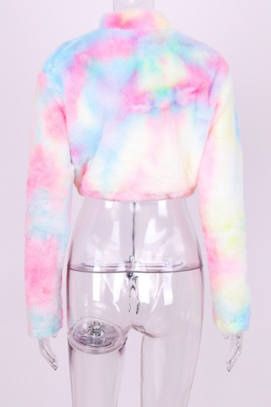 New Stylish Half-Zip Stand Up Collar Colorful Long Sleeve Fluffy Teddy Cropped Sweatshirt