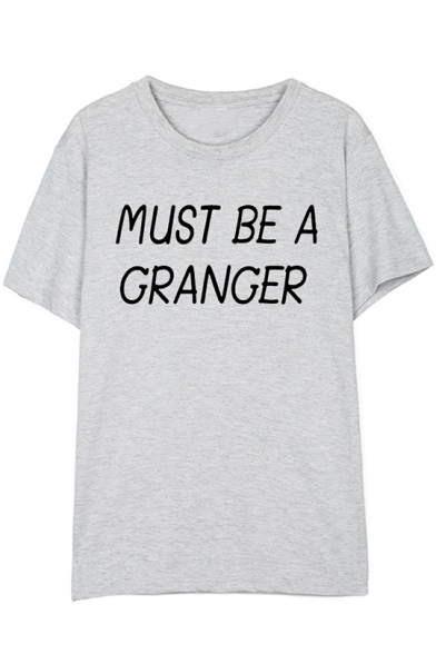 New Trendy Letter MUST BE A GRANGER Printed Round Neck Short Sleeve Unisex Cotton Tee, LC554200, Color 1;color 2;color 3;color 4;color 5;color 6;color 7;color 8;color 9;color 10;color 11;color 12;color 13;color 14;color 15;color 16;color 17;color 18;color
