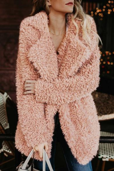 Pink Plain Faux Fur Notched Lapel Collar Long Casual Coat, LM558891