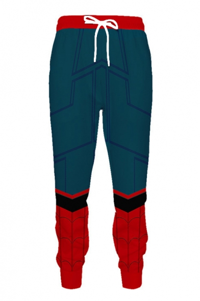 Popular Comic Blue and Red Spider Web Pattern Drawstring Waist Sport Casual Pants Sweatpants