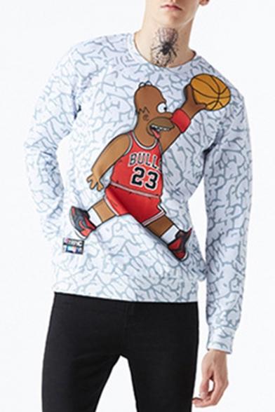 Popular Fashion Cartoon Basketball Printed Long Sleeve Round Neck Gray Pullover Sweatshirts