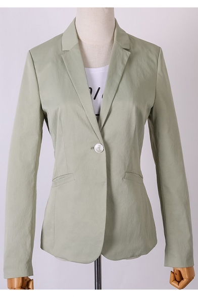 Pure Color Notched Lapel Single Button Light Green Fit Blazer with Pockets, LM557159