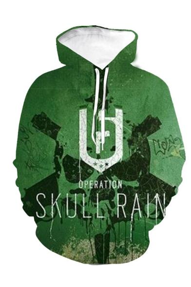 Cool Skull Printed Green Drawstring Hooded Pullover Long Sleeve Casual Hoodie