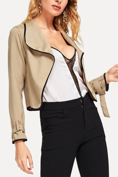 Simple Lapel Collar Adjustable Cuffs Contrast Stitching Khaki Cropped Jacket Coat