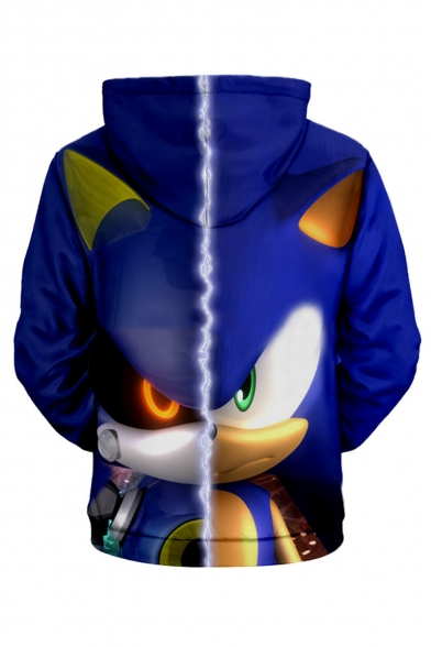 Sonic The Hedgehog Comic Figure 3d Printed Long Sleeve Loose Fit Blue Pullover Hoodie Beautifulhalo Com