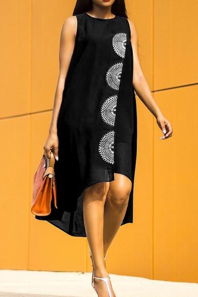 Summer Beach Round Neck Sleeveless Floral Prints Loose Midi Asymmetrical Dress