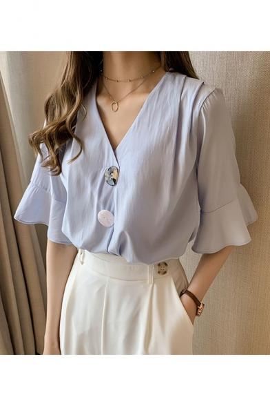 Summer Girls Unique Ruffled Short Sleeve V-Neck Button Down Chiffon Blouse Shirt