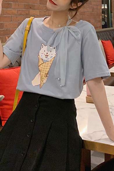 Summer New Arrival Short Sleeve Round Neck Ice Cream Cat Printed Bow Shoulder Cute Womens T-Shirt