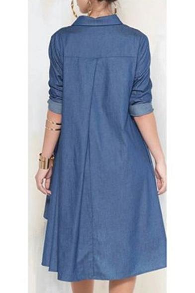 Summer Retro Navy Lapel Collar Sleeveless Double Breasted Plain A-line Mini Dress