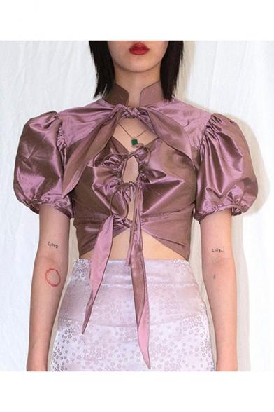 Summer Unique Leisure Plain Mock Neck Puff Sleeve Cutout Bow-Front Purple Dance Shirt