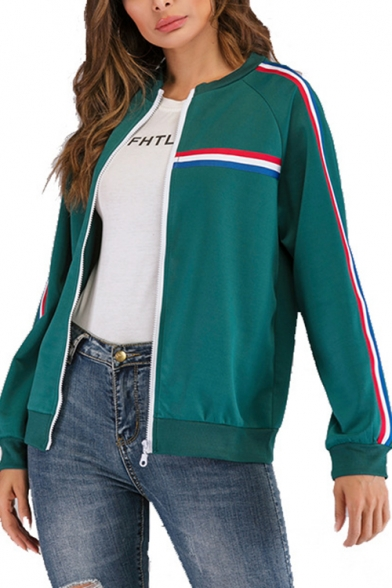 Three-Color Panel Stripes Stand Up Collar Zipper Baseball Jacket