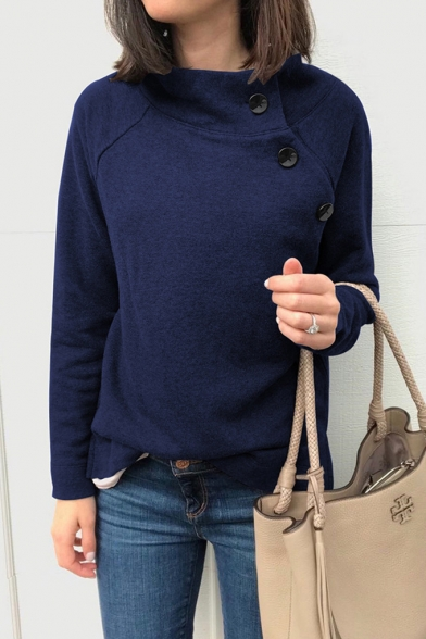 Trendy Chic Long Sleeve Stand Collar Button Front Straight Sweatshirt