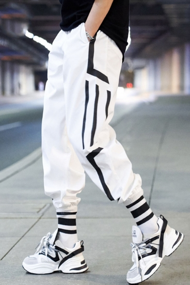 Unisex Trendy Contrast Stripe Printed Loose Fit Gathered Cuffs Hip Pop Track Pants