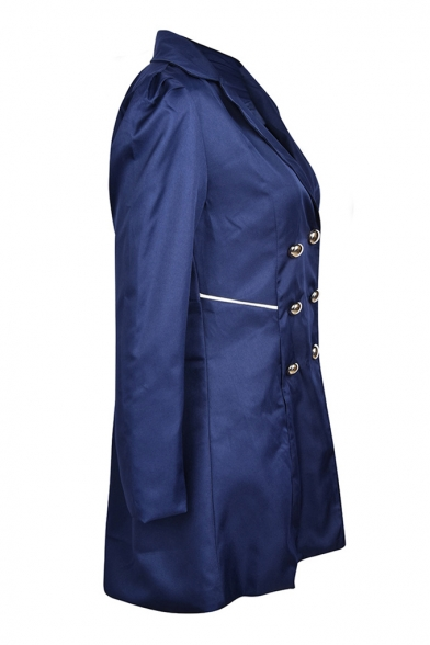 Vintage Women Notch Lapel Collar Double Breasted Solid Longline Trench Coat with Pocket