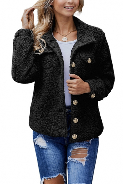 Winter Collection Plain Lapel Collar Single Breasted Warm Casual Faux Fur Short Coat