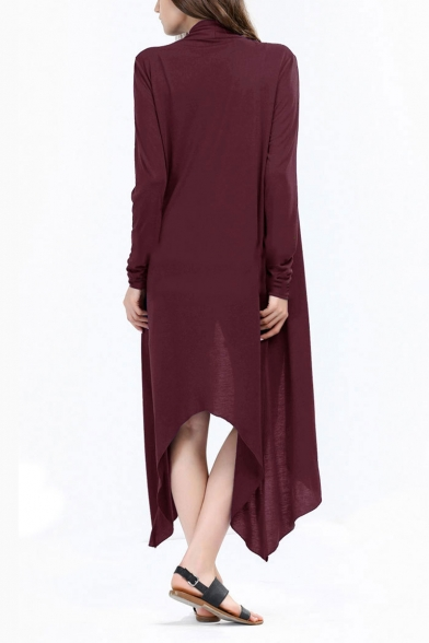 Women Leisure Asymmetric Hem Open Front Solid Color Longline Trench Coat
