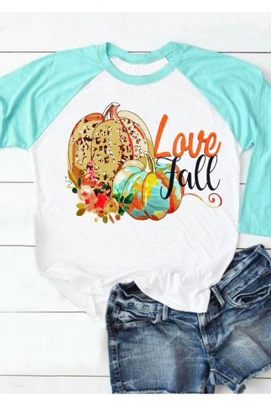 Women's Fashion Letter LOVE FALL Halloween Pumpkin Printed Short Sleeve Round Neck White T-Shirt
