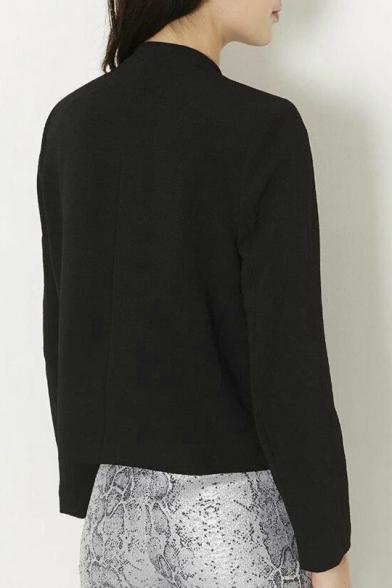 Women's Fashion Notched Lapel Tailored Black Blazer Coat