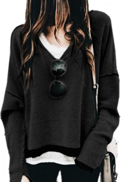 Women's Fashion V-Neck Long Sleeve Frayed Hem Loose Leisure Plain Pullover Sweatshirt