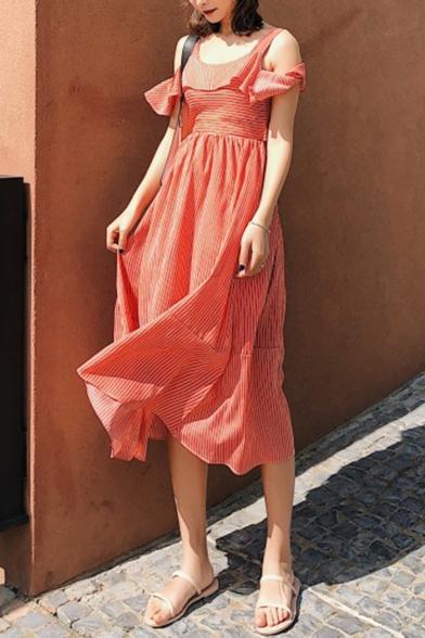 Women's Summer Beach Off the Shoulder Sleeveless Ruffles Pinstripe Backless A-Line Maxi Dress